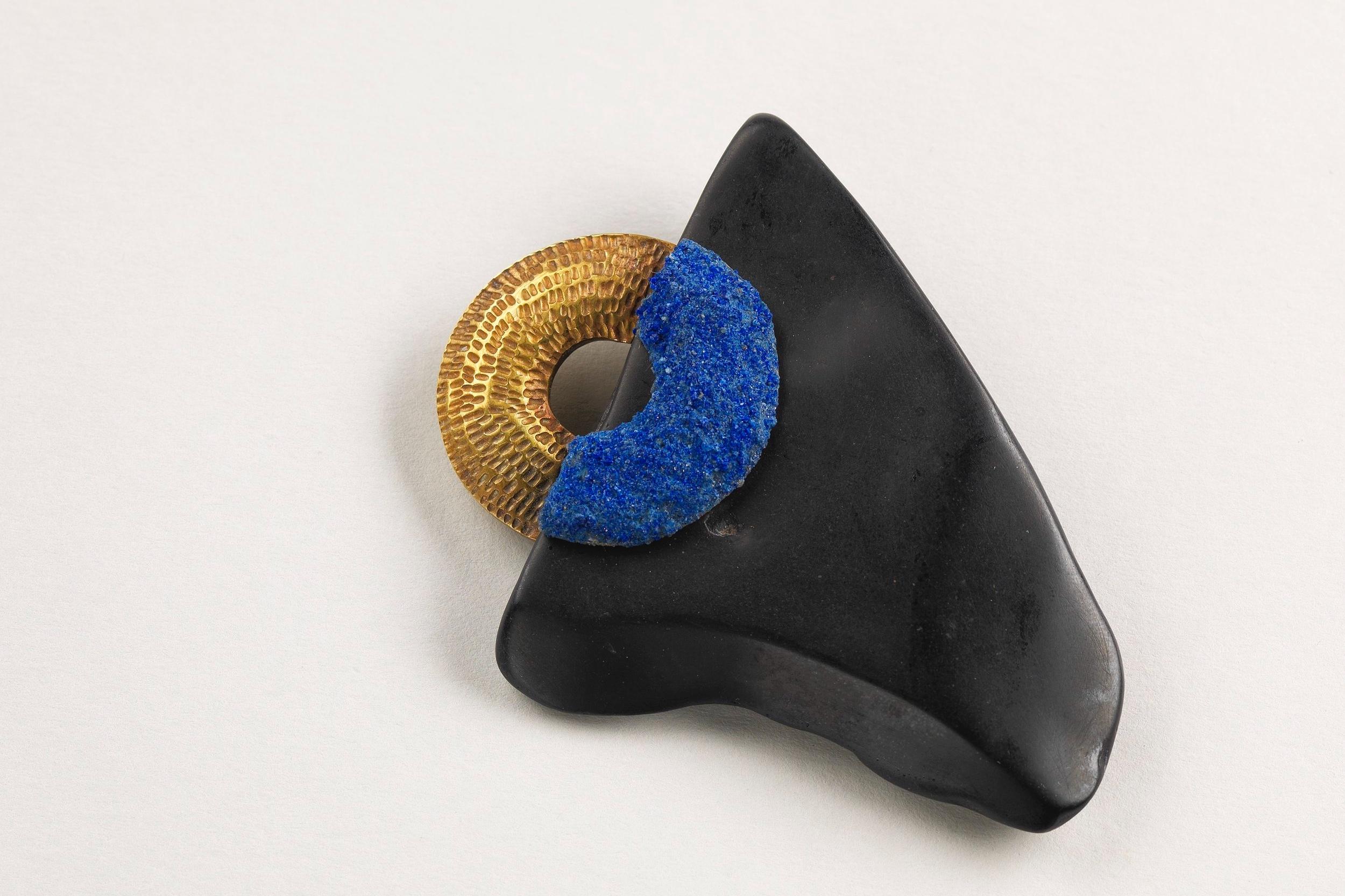 Cobalt Brooch, brass, lapis lazuli, jet - Photo Credit: Shannon Tofts