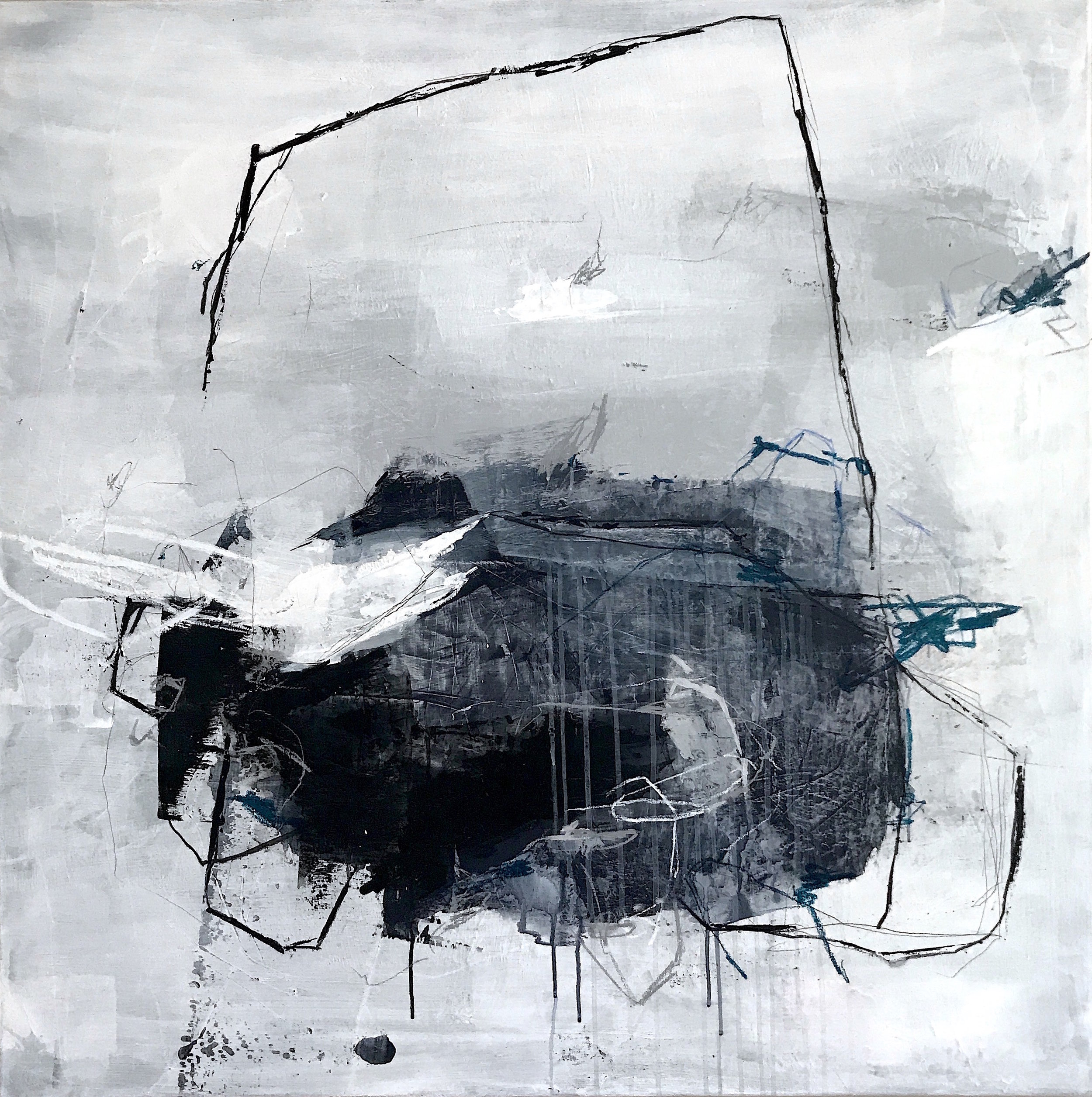 Painting No 3606, acrylic, charcoal, pastels on stretched canvas, 100x100cm, 2018