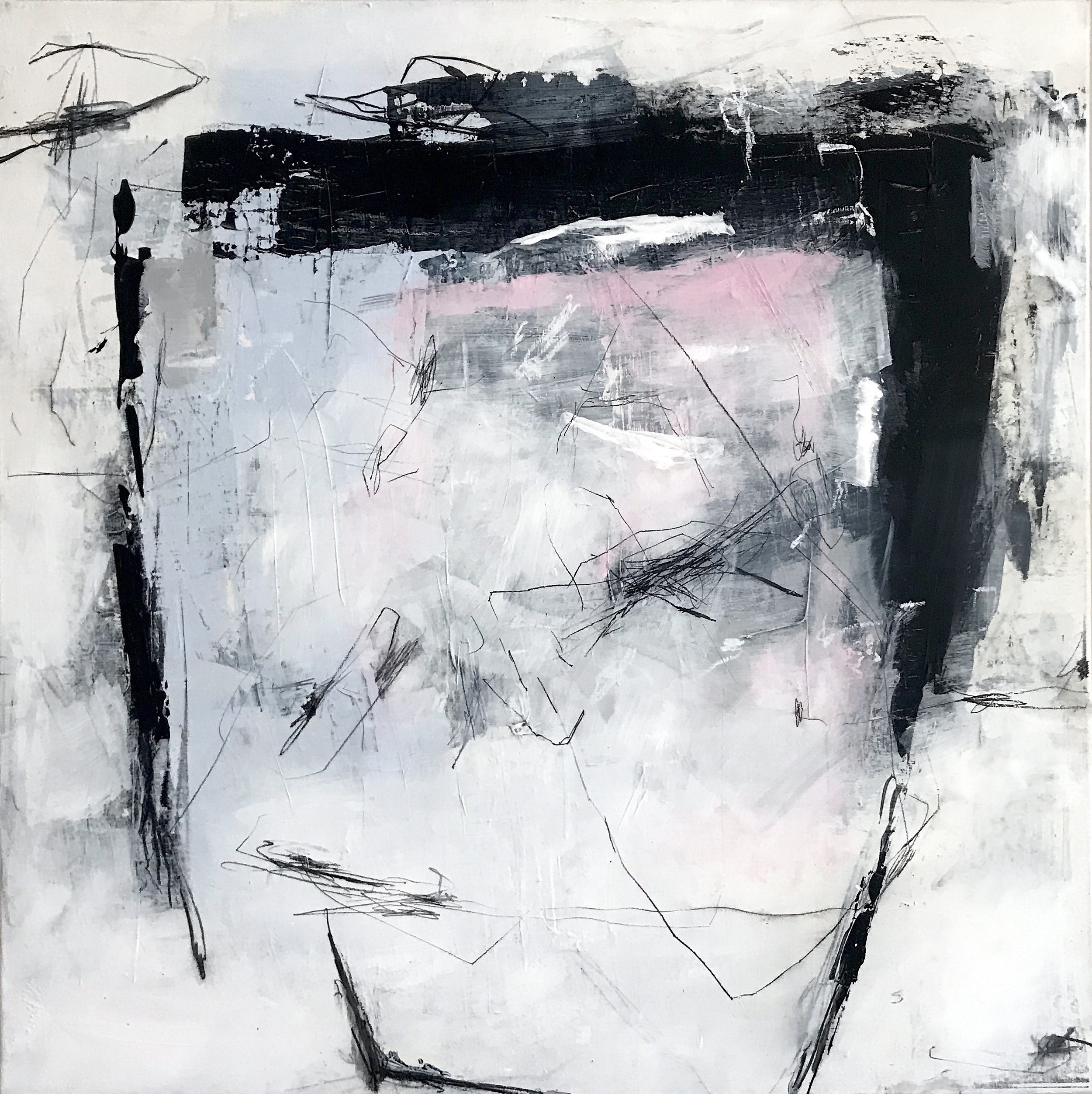 Painting no 3609, acrylic, charcoal, pastels on stretched canvas, 100x100cm, 2018