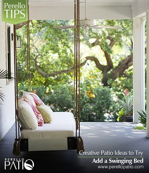 Creative Patio Ideas to Try.  Add a Swinging Bed  Although furniture is a quick fix, a swinging patio bed is a simple, charming solution to relax-worthy seating. Adapt a platform or bench to hold a cushion and a back support. Hooks should be attached to beams, not the ceiling itself.  Call us for more information about our products and services (+1)305 927 6979  info@perellopatio.com  Office and Showroom: 5161 NW 79 AVE, UNIT 5, DORAL, 33166  #pergolas #decks #outdoordesign #outdoorkitchen #outdoor #patio #syntheticggrass #outdoorkitchen #design #gardendesign #fences #poolfences #pool #decoration #patiodesign #exteriordesign #gardens #turf #patioidea #miami #florida #usa #developers #realtor #architect #instadesign #instagood #instalike #photooftheday
