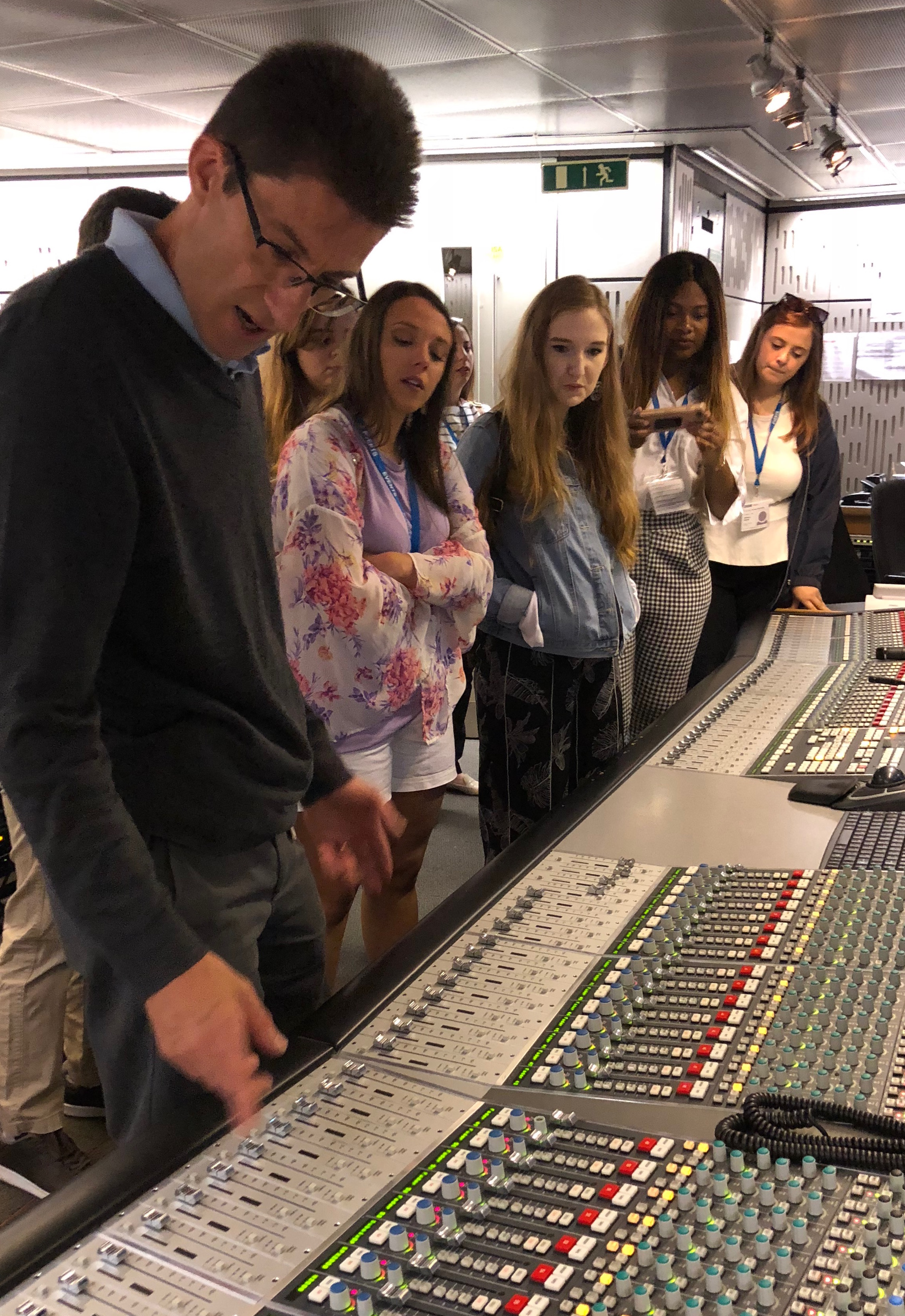 A visit to the BBC in London gave students an up-close look at some of its control room equipment and access to speak directly with operations personnel.