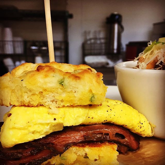 Jalapeño cheddar biscuit with smoked ribeye and eggs!