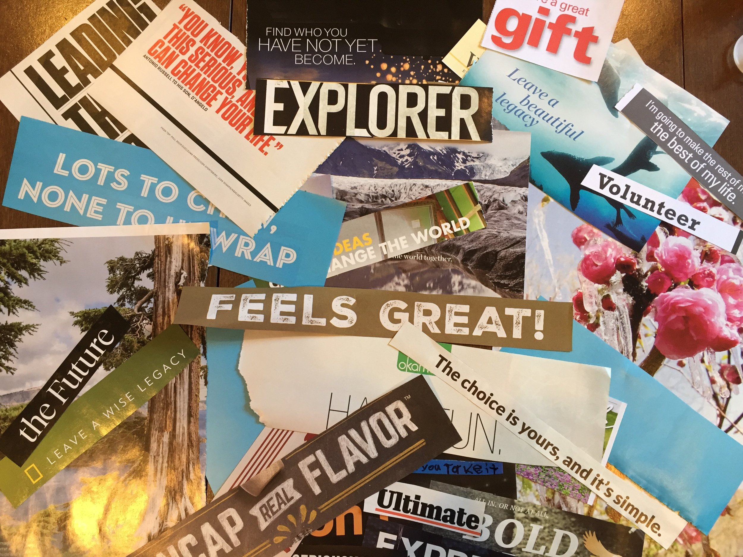 Magazine cut outs for my vision board(s).