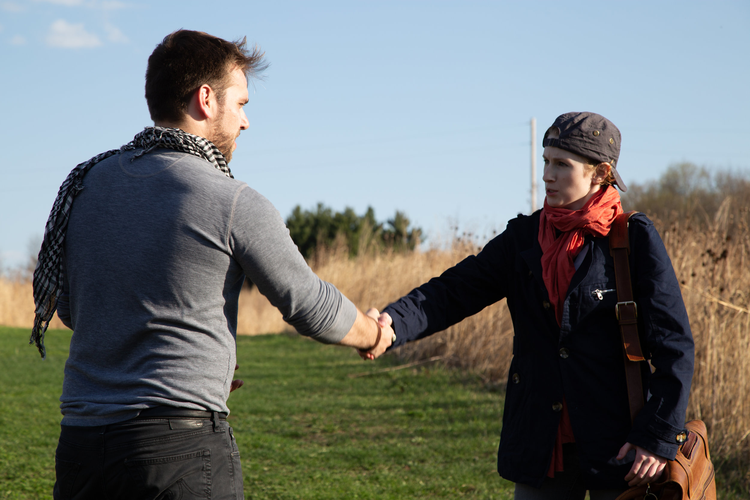 Orsino (Henry Southwick) meets Viola, who is claiming to be Cesario (Leah Christine)