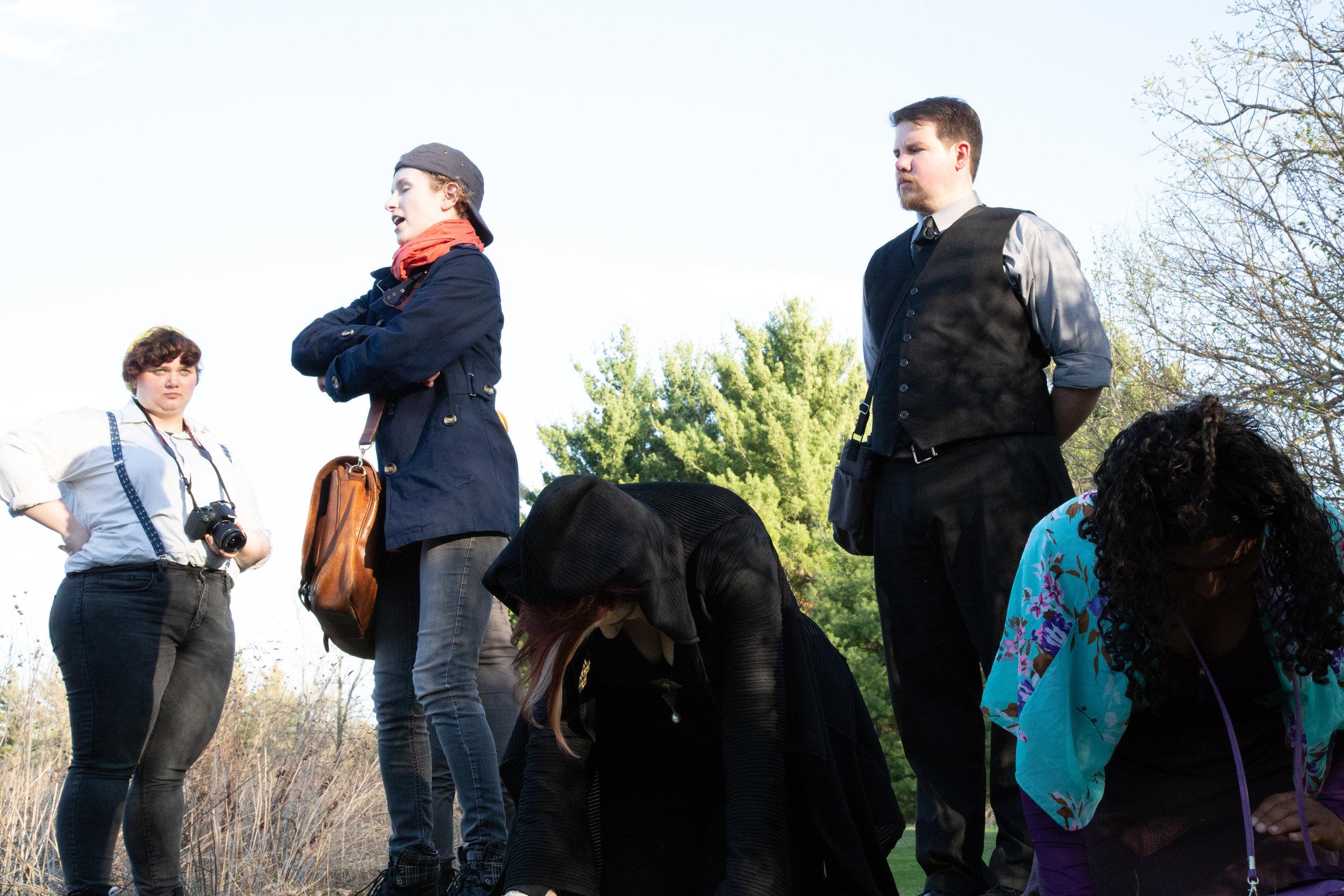 Heather (Nelly Ann Burkitt), Viola (Leah Christine) and Malvolio (Tom Sorenson) chat while Olivia (Kelli Tatum) and Maria (Tia Tanzer) practice yoga.