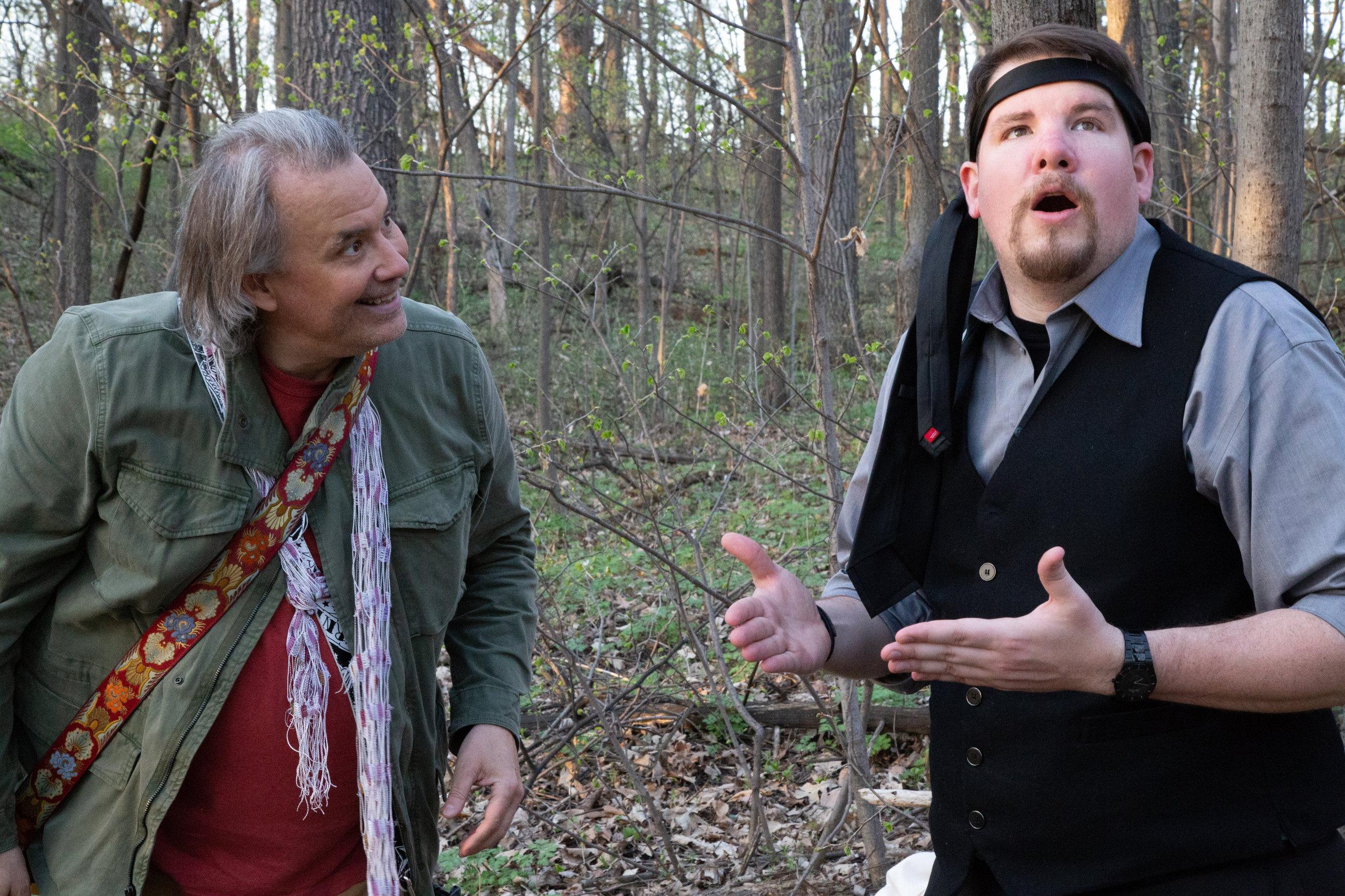 Feste (Rob Andersen) clowning around with Malvolio (Tom Sorenson)