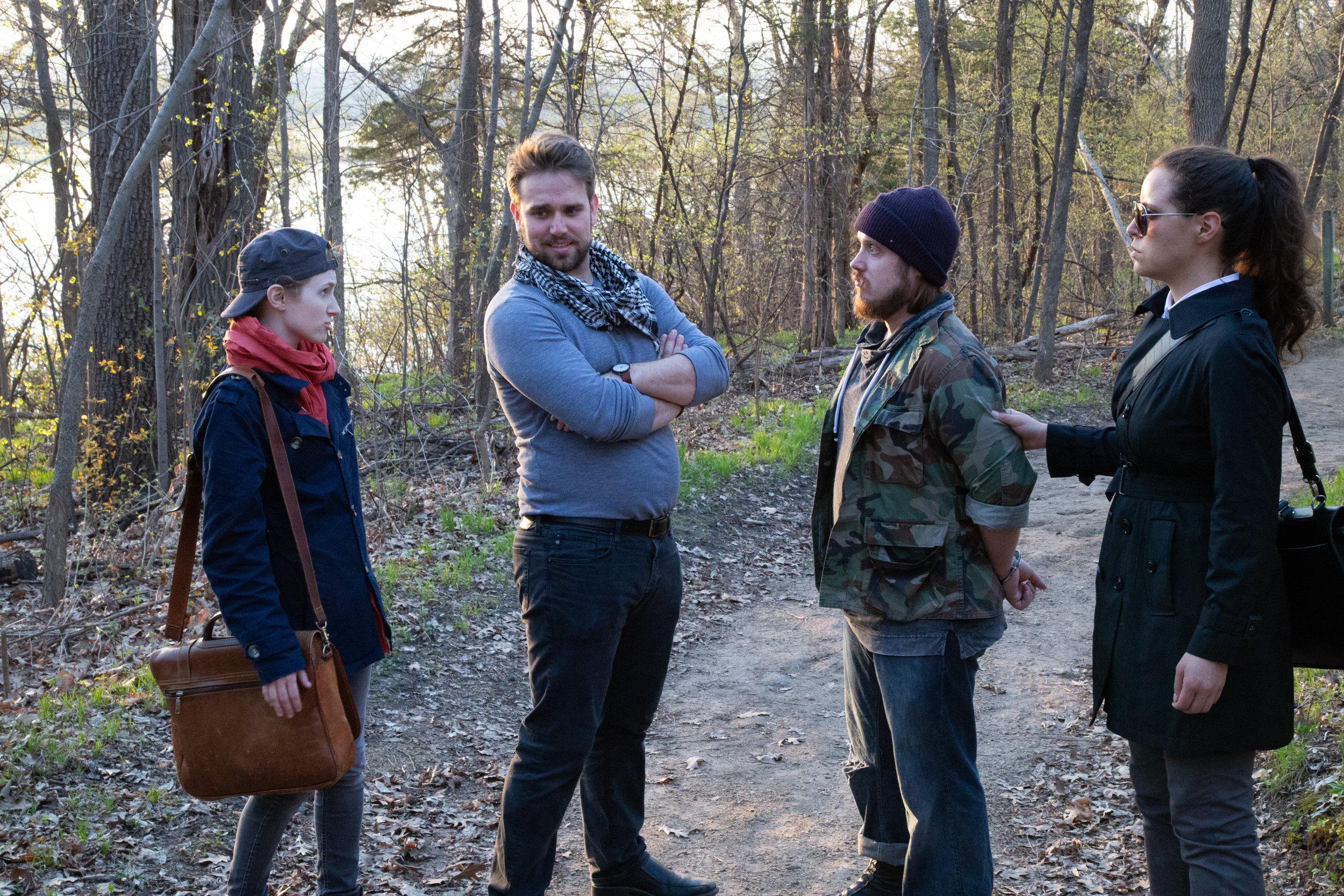 Viola (Leah Christine), Orsino (Henry Southwick), Antonio (Zach Filkins) and Officer (Michelle Del)