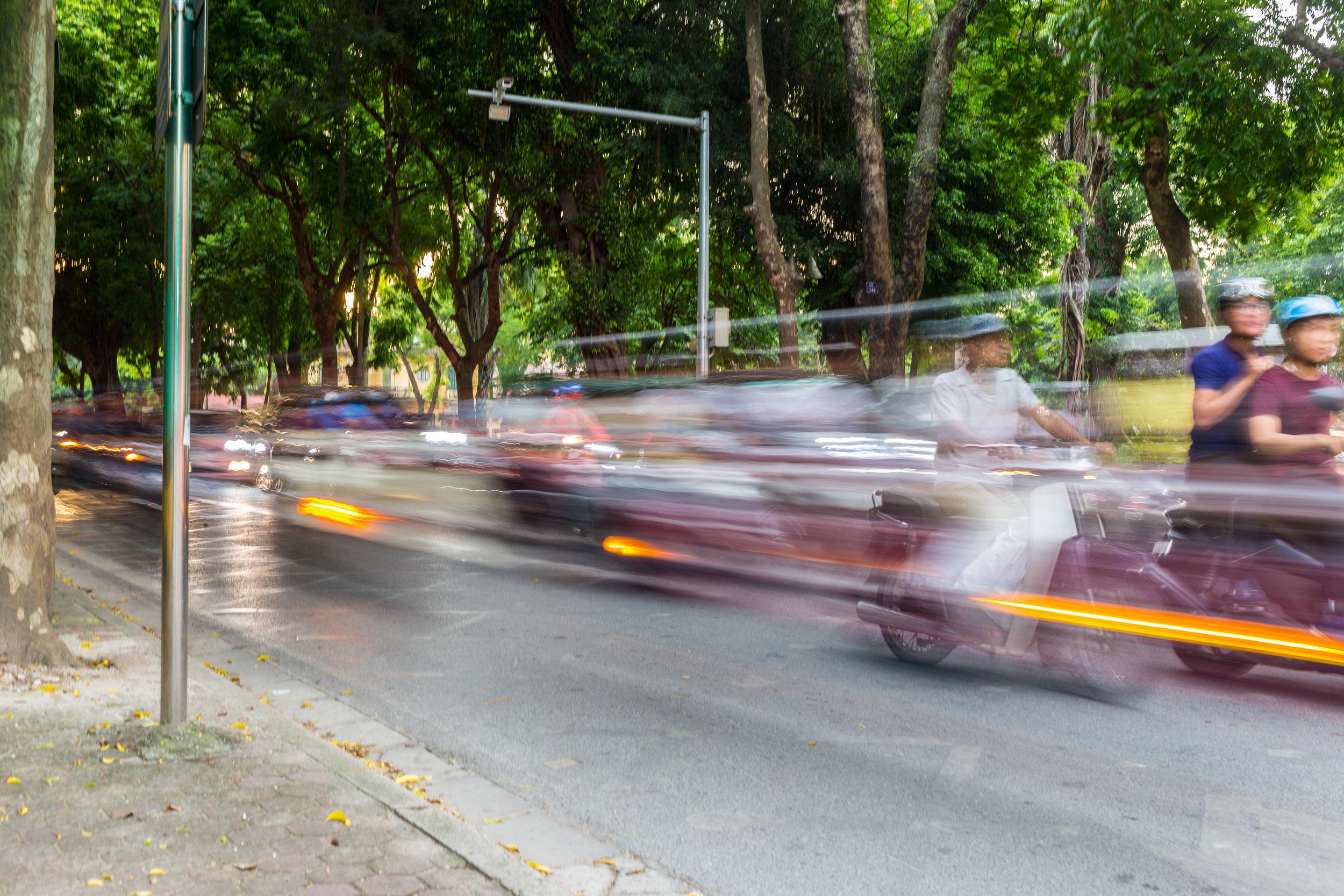 Scooter traffic in Hanoi, Vietnam