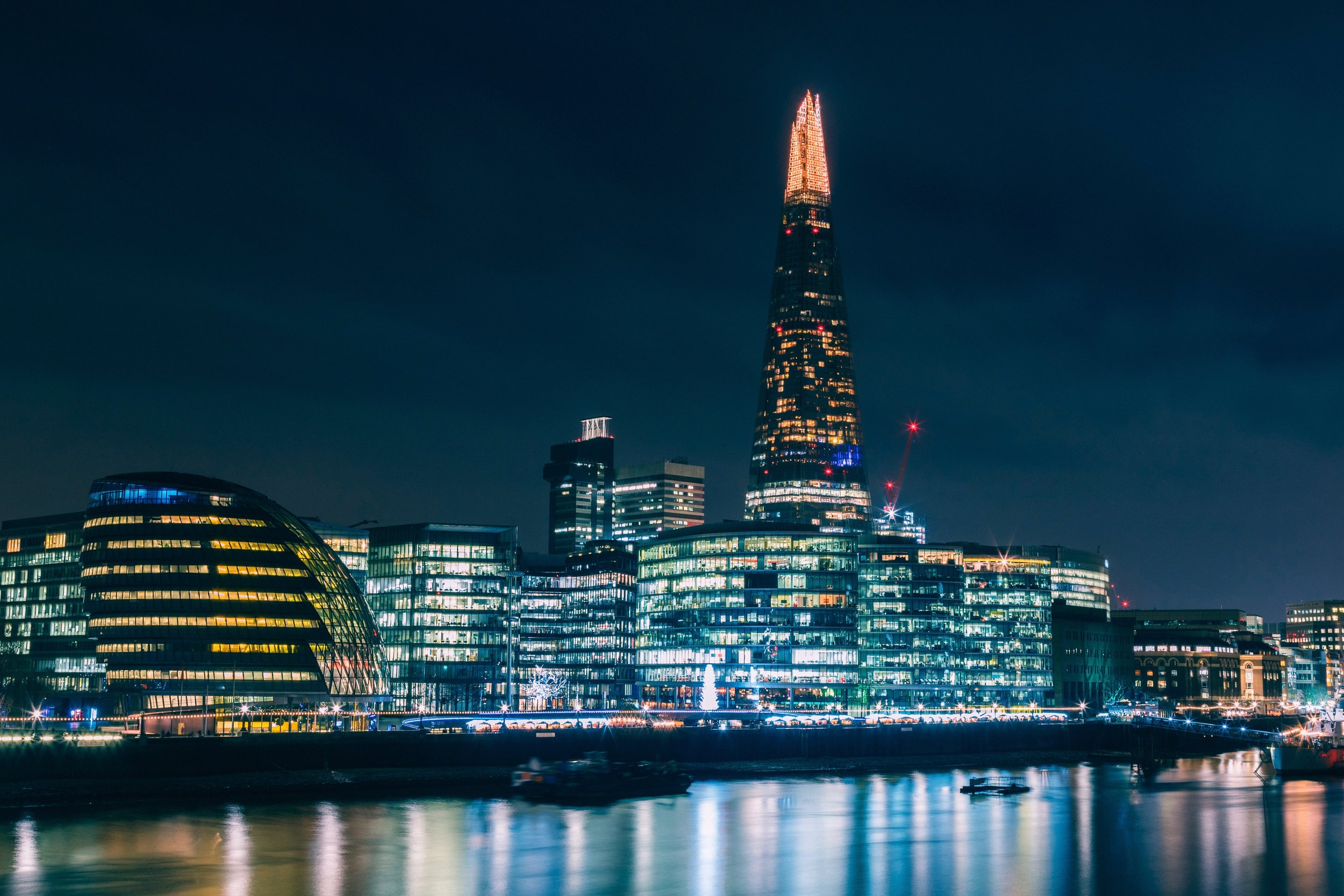 The Shard towering over the London night