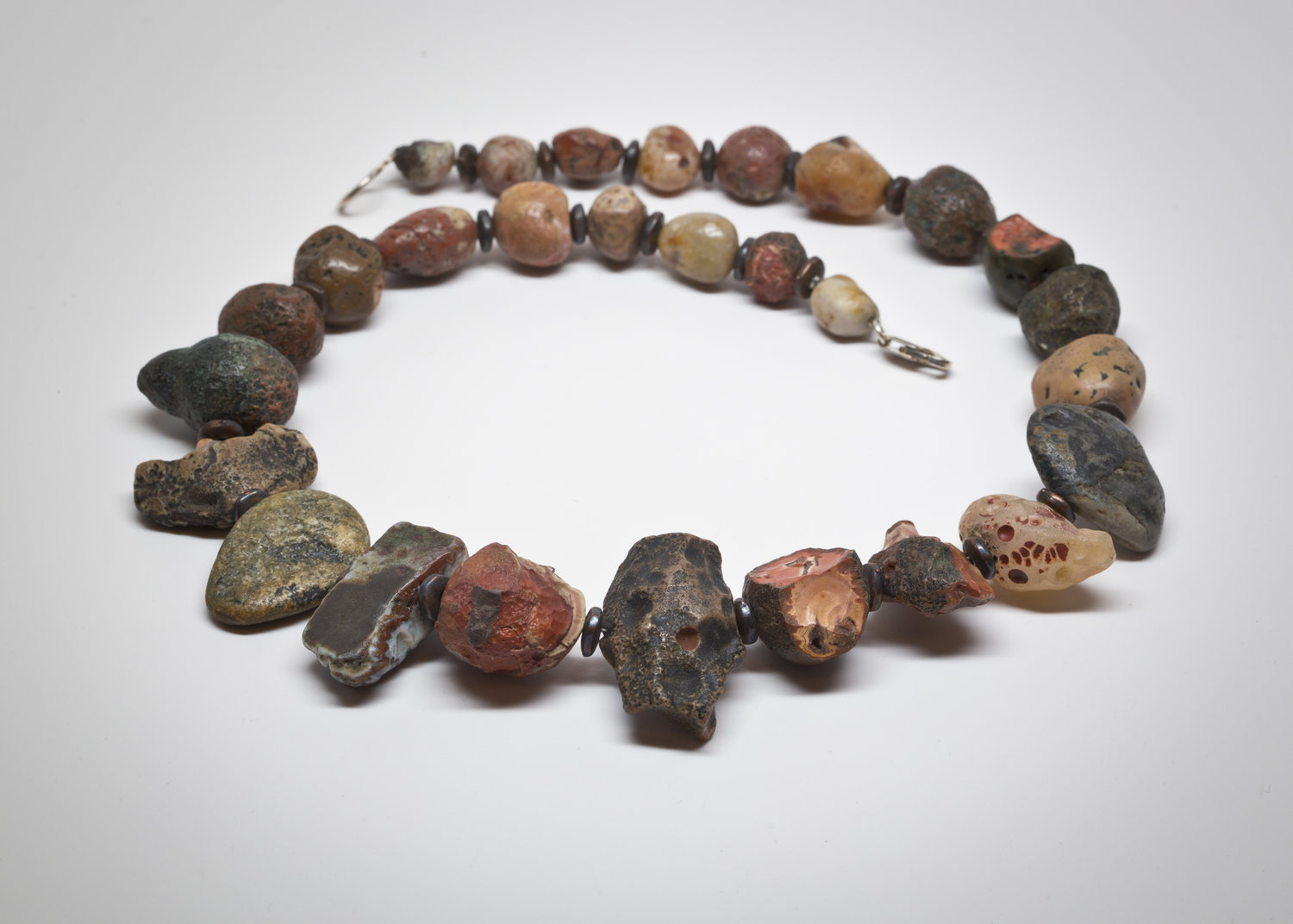 """""""PARADISE FOUND"""" a example of a necklace from a lifetime of collecting raw unpolished natural surface found Paradise Beach agates"""