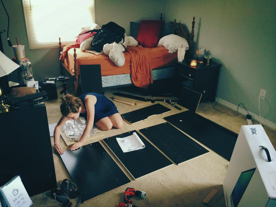Here I was Senior year at UTM assembling our new desk for John's room.