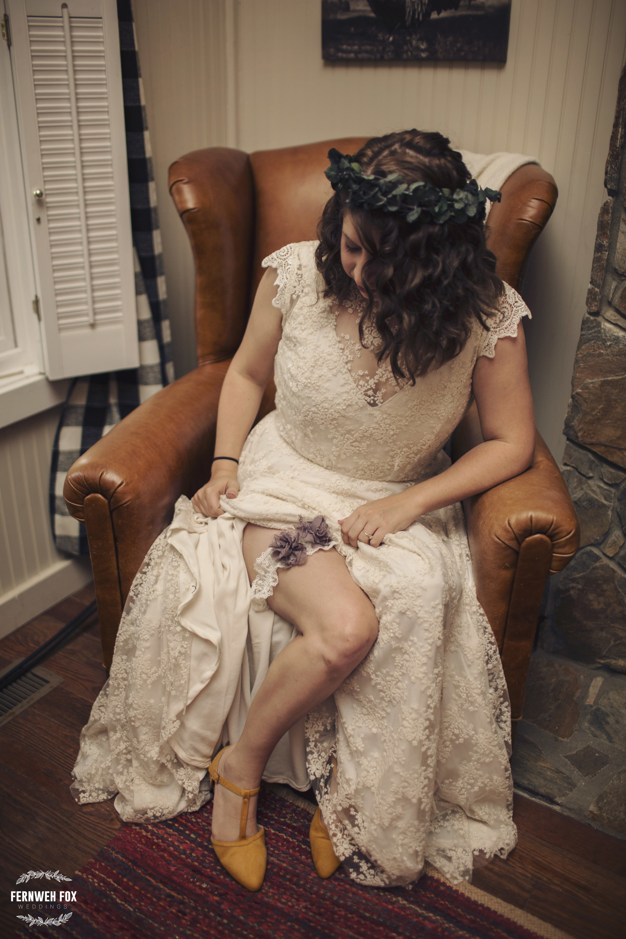 Emily was such an elegant and beautiful bride. She even made the garter and eucalyptus leaf crown herself. What. A. Woman.