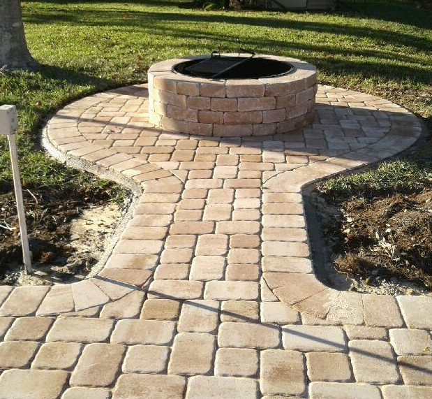 Add a firepit to make your yard a year-round gathering place. (Appian cobble in Amaretto blend)
