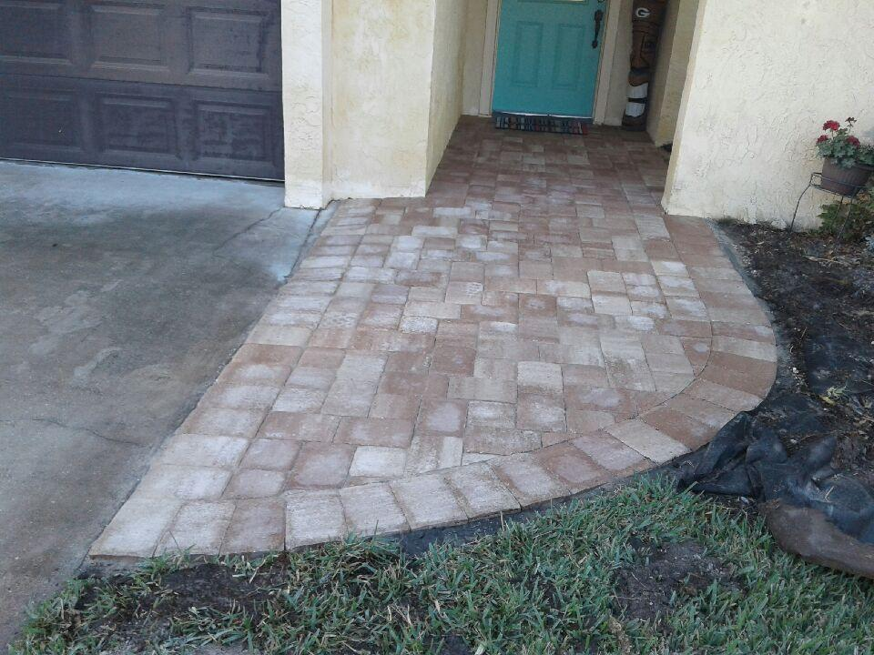 We can replace your broken concrete porch, walkway, or driveway and boost your curb appeal! (Appian cobble pavers in Amaretto blend)
