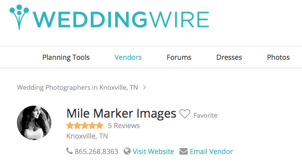 Our Wedding Wire profile helps connect us.