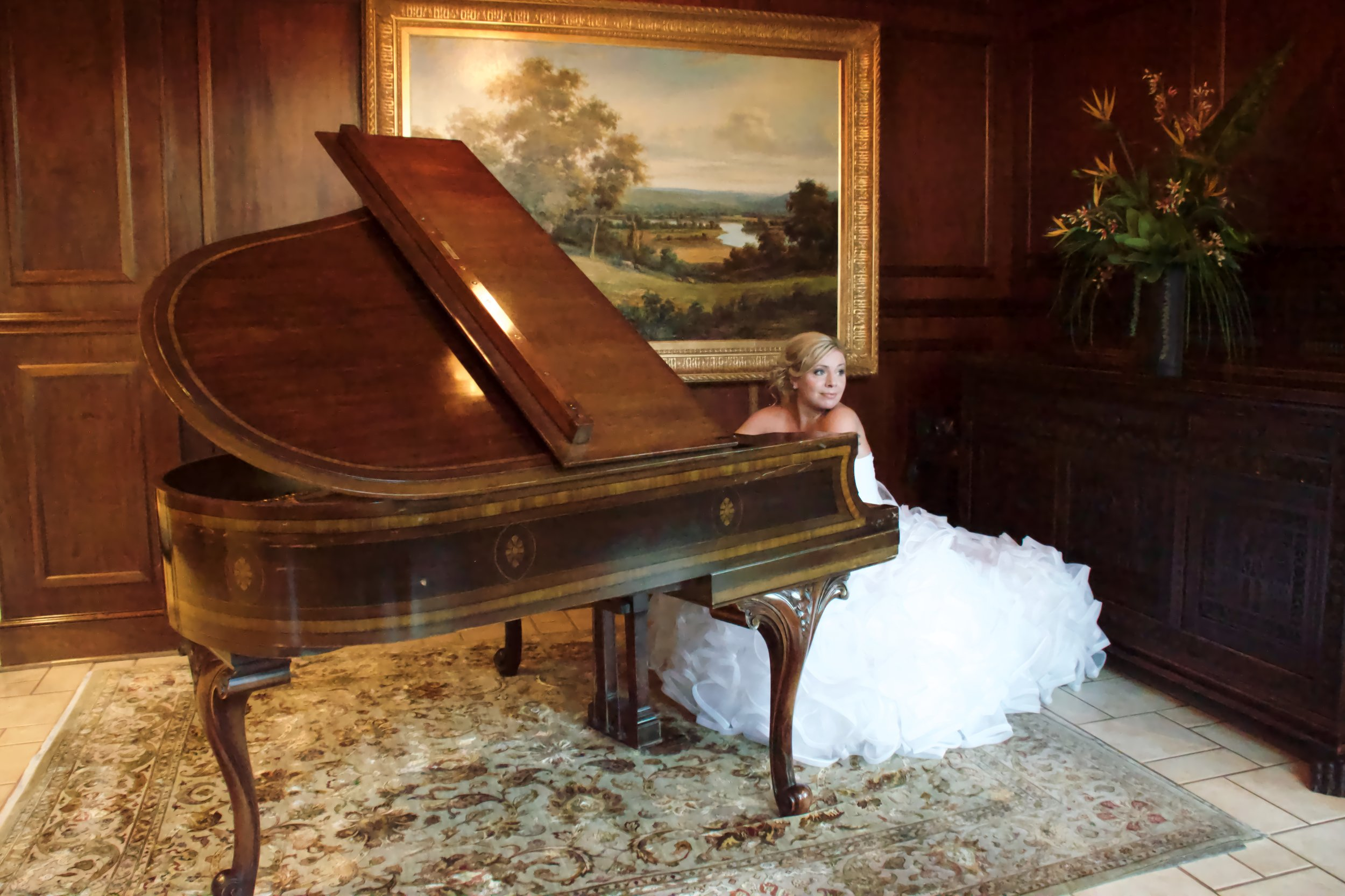 Bride at an antique piano