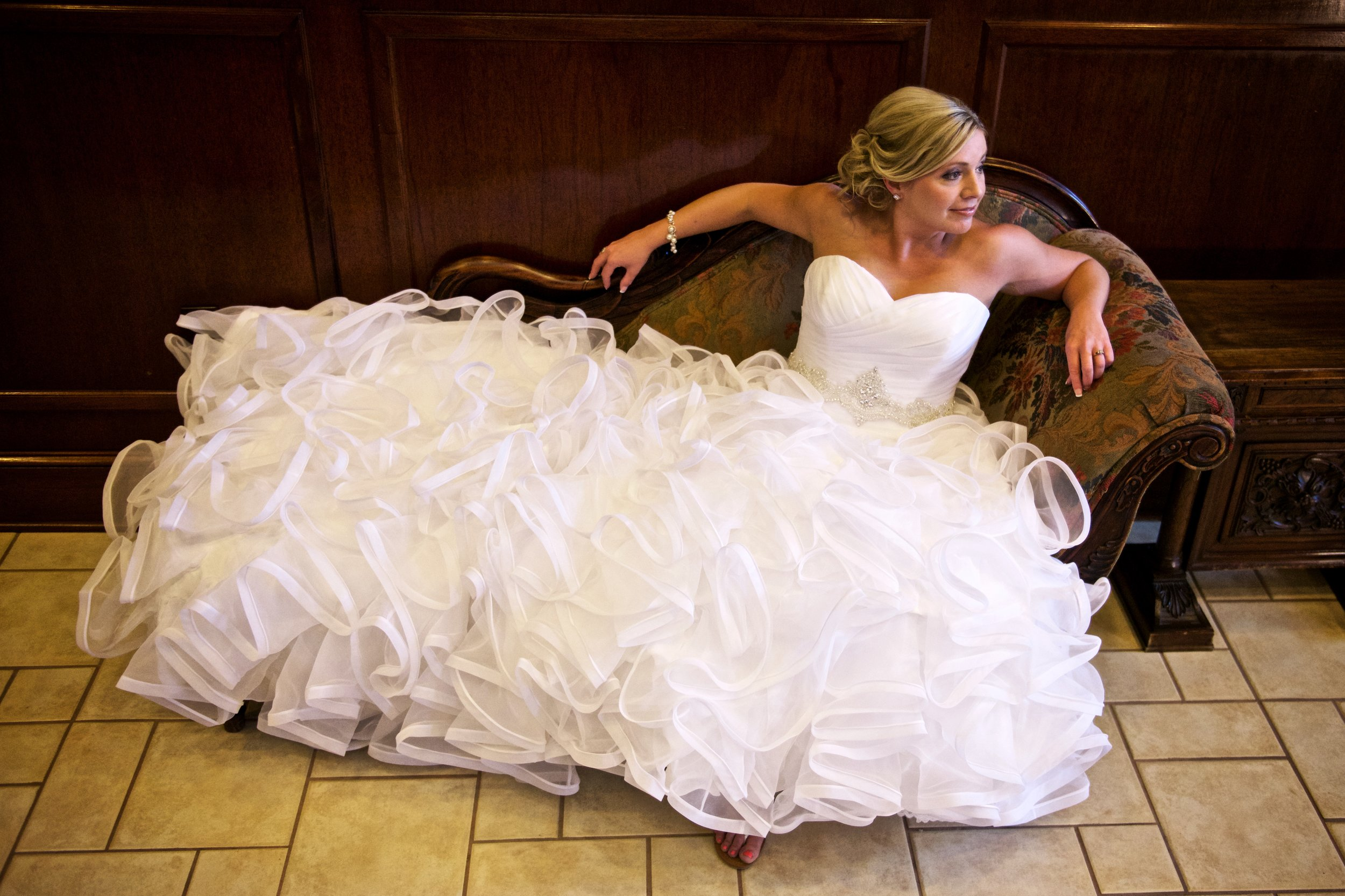 Bride on a fainting sofa