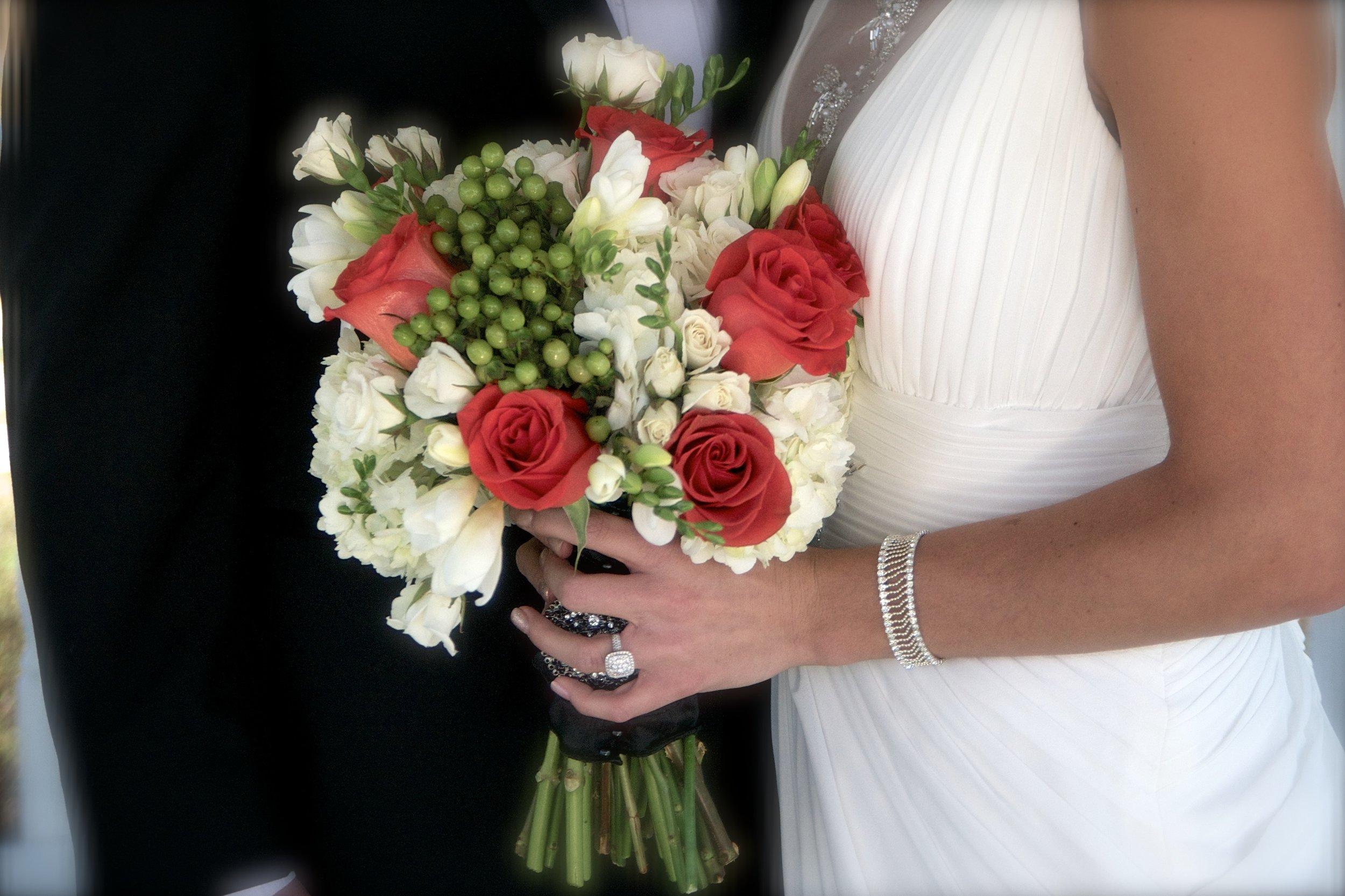 Fragrant flowers keep the groom happy!