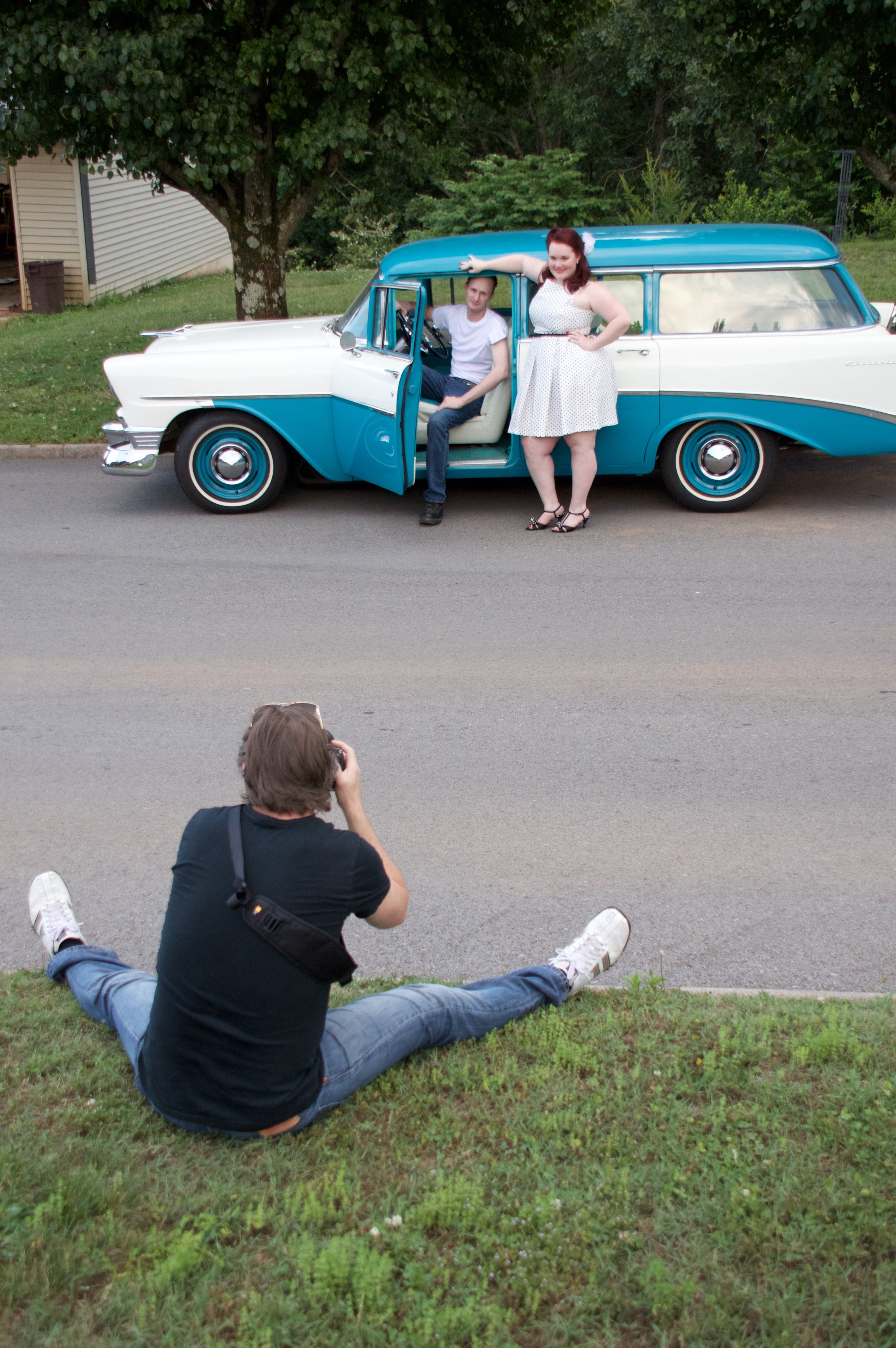 50s themed engagement shoot