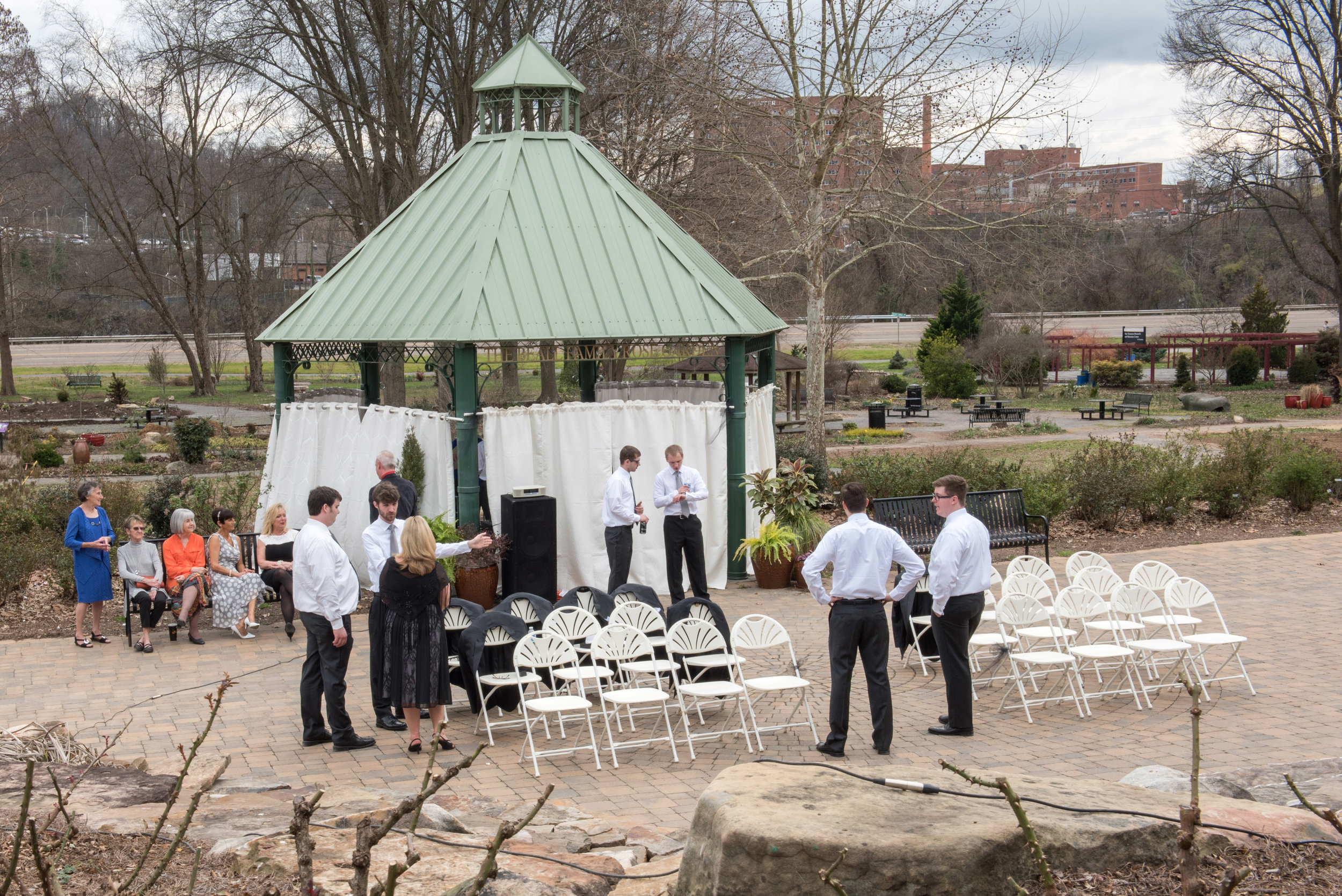 The Gazebo was draped for privacy & hiding the bride - nice work Colleen!