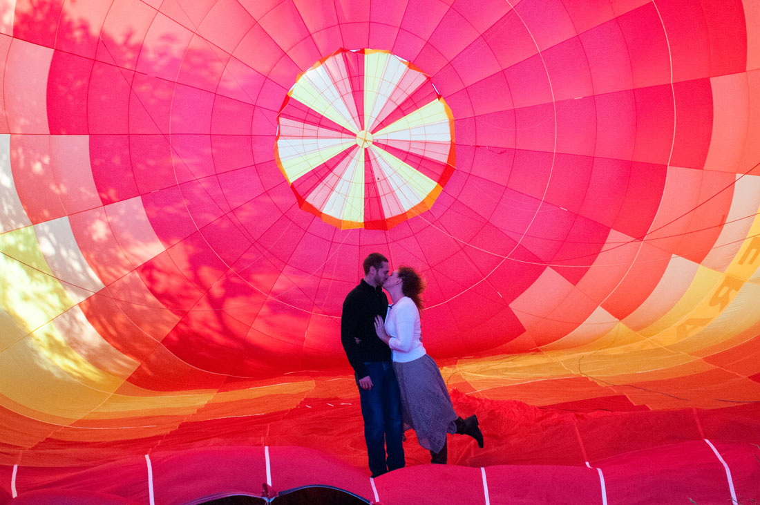 Bride & Groom kiss inside a hot air balloon!