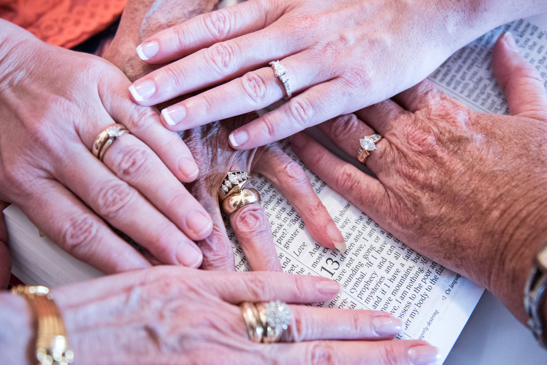 All the ladies hands at 1st Corinthians 13:1 - because love endures all things.