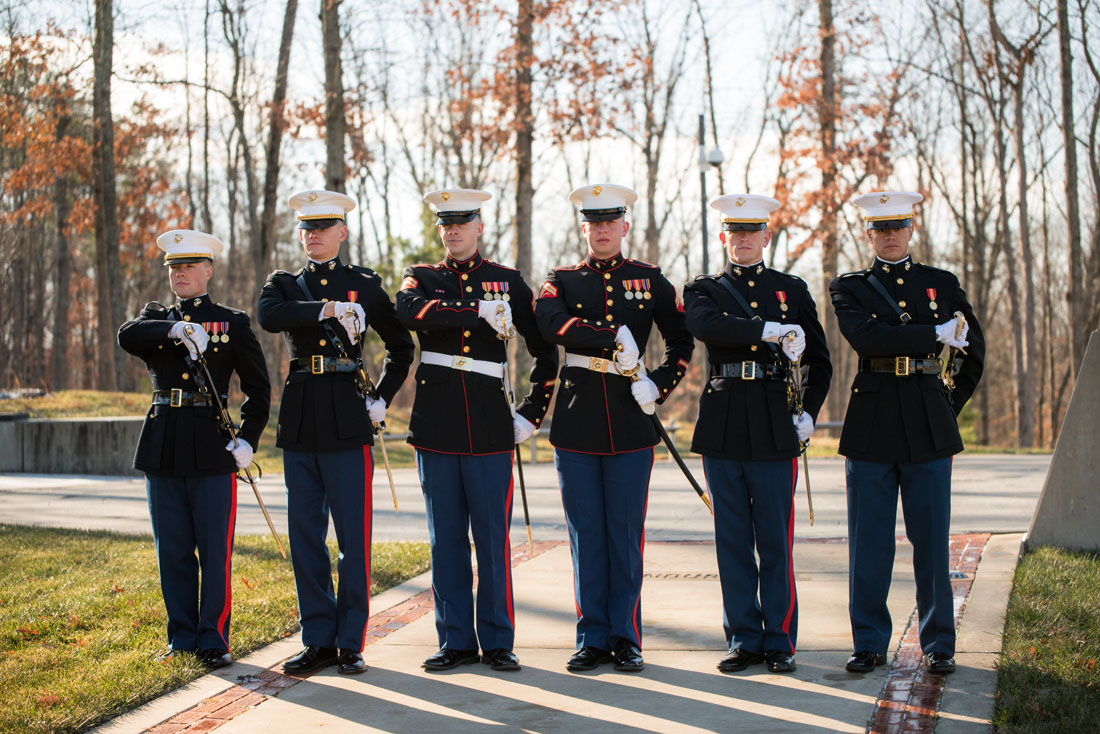 Ben, third from the left, with the other Marines that would provide raised sabres for the recession.