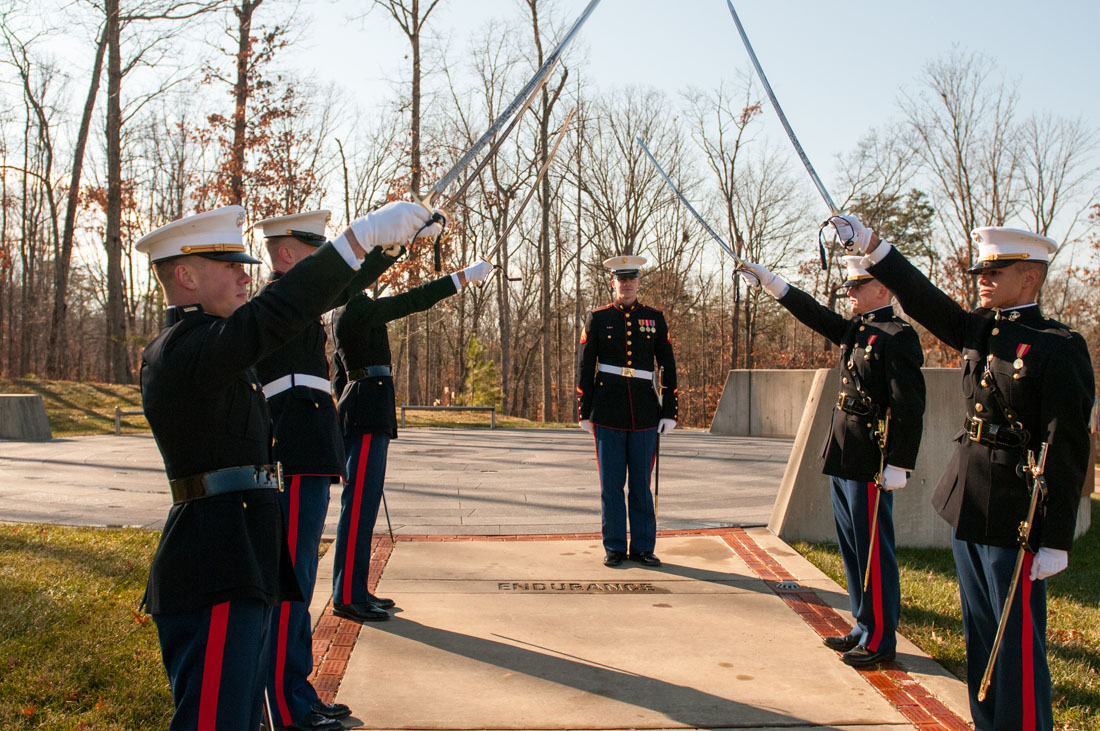 Marines with sabres raised. Ben at attention. Practice makes perfect!