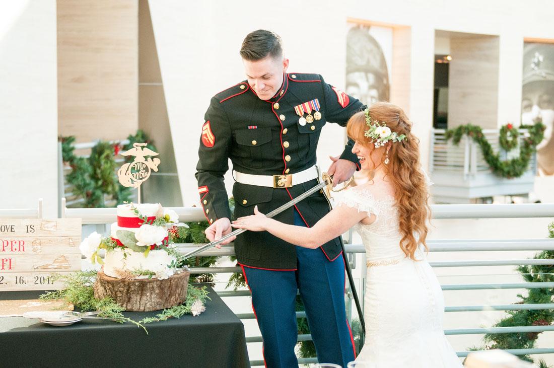 Cutting a cake with a Marine Saber - super cool!!!