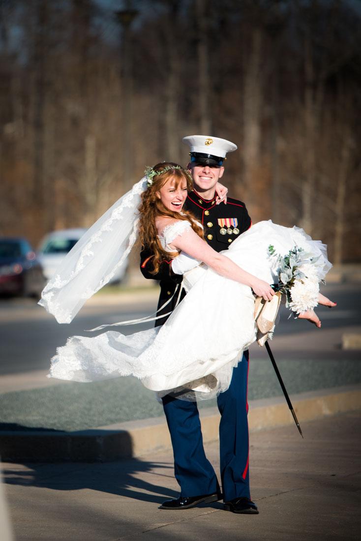 An officer and a gentleman . . . Ben swept Dakotah off her bare feet!