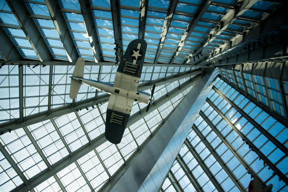 Planes hang from the vaulted structure and one feels to power of the U.S. Marines.