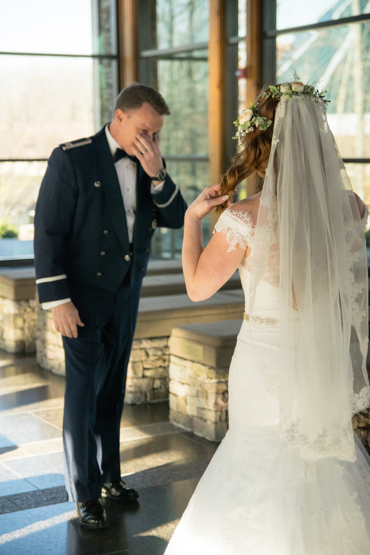 Father of the bride tears up as he sees his daughter for the first time