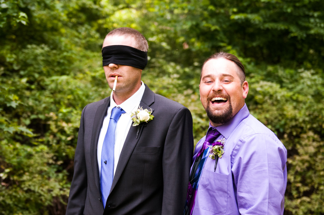 Jeffery having fun with blindfold and cigarette. Wedding or firing squad? Too much fun!!!
