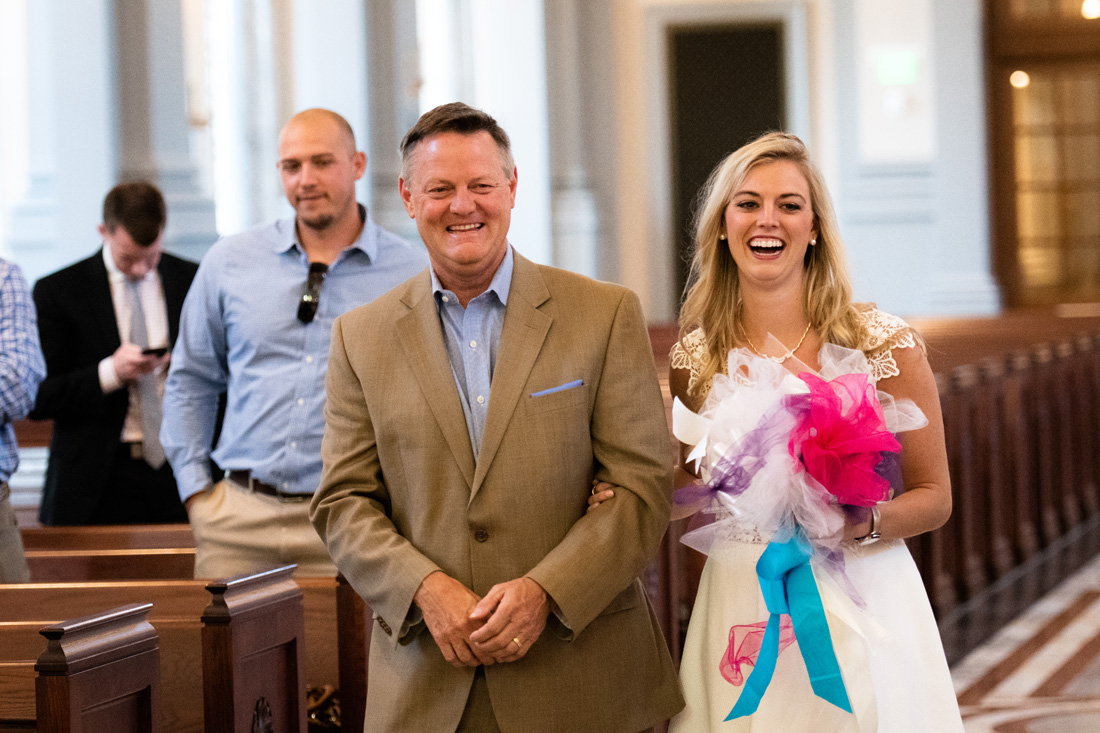 Cassidy and father rehearse walking down the aisle - ALL SMILES!