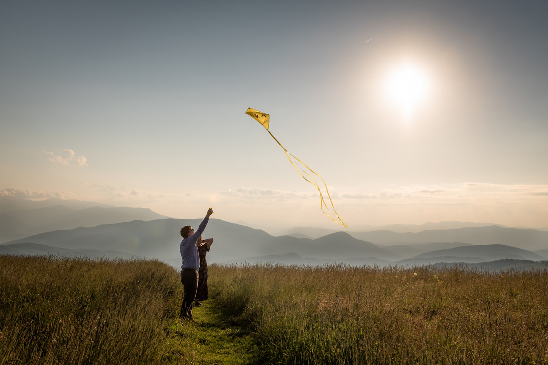 Melissa & Andrew at Max Patch with their kite!!!