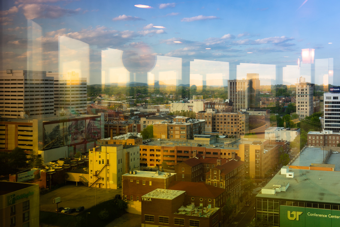 Downtown Knoxville with a reflection of the Sunpshere from the interior windows of the Sunpshere.