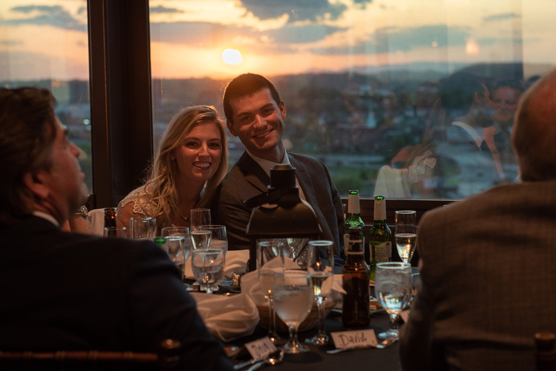 Cassidy & Tyler inside the Sunsphere with sunset beyond. Every little thing was perfect - even the sunset!