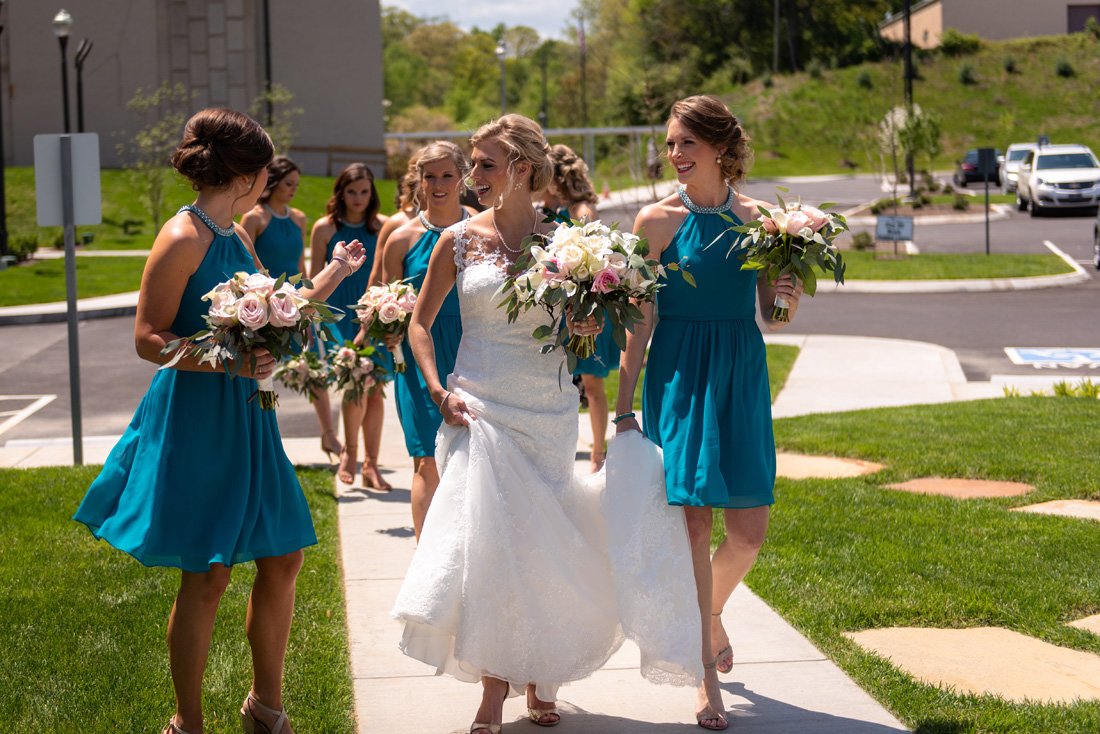 Cassidy & her bridesmaids head around to the front of the cathedral.