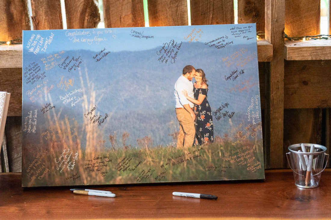 Canvas print for guests to sign.