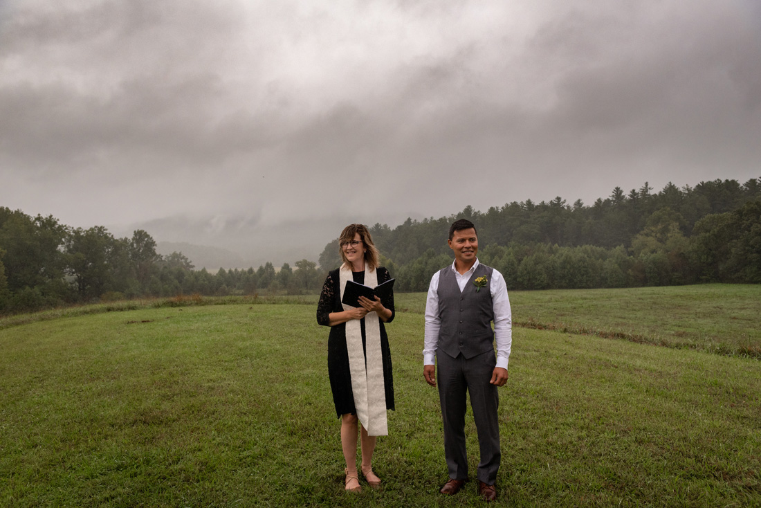 Sandy & Jim wait for Megan to appear - love the low clouds beyond!