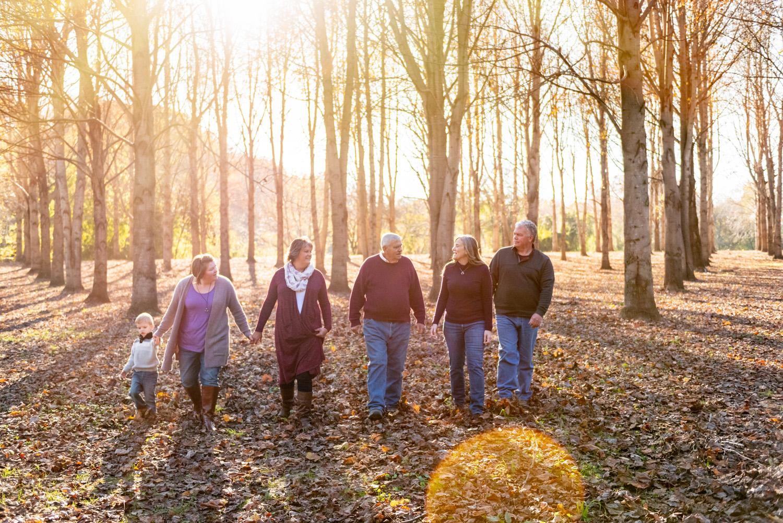 Family photo walking thru sunlit forrest