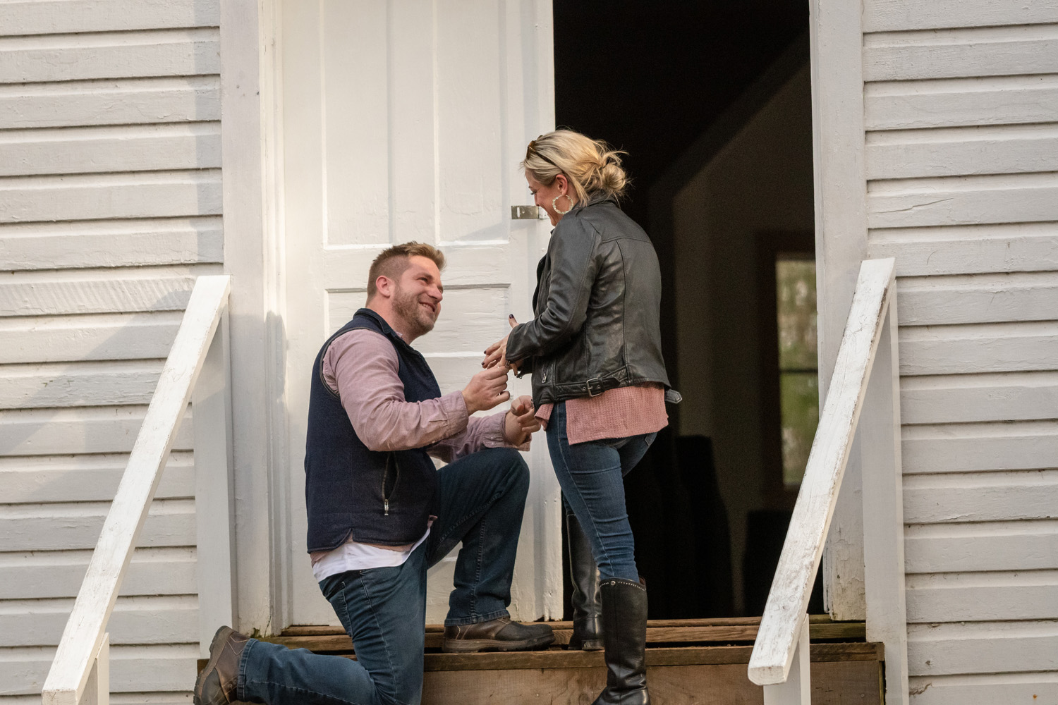 Impromptu proposal on the steps of a church in Cade's Cove.