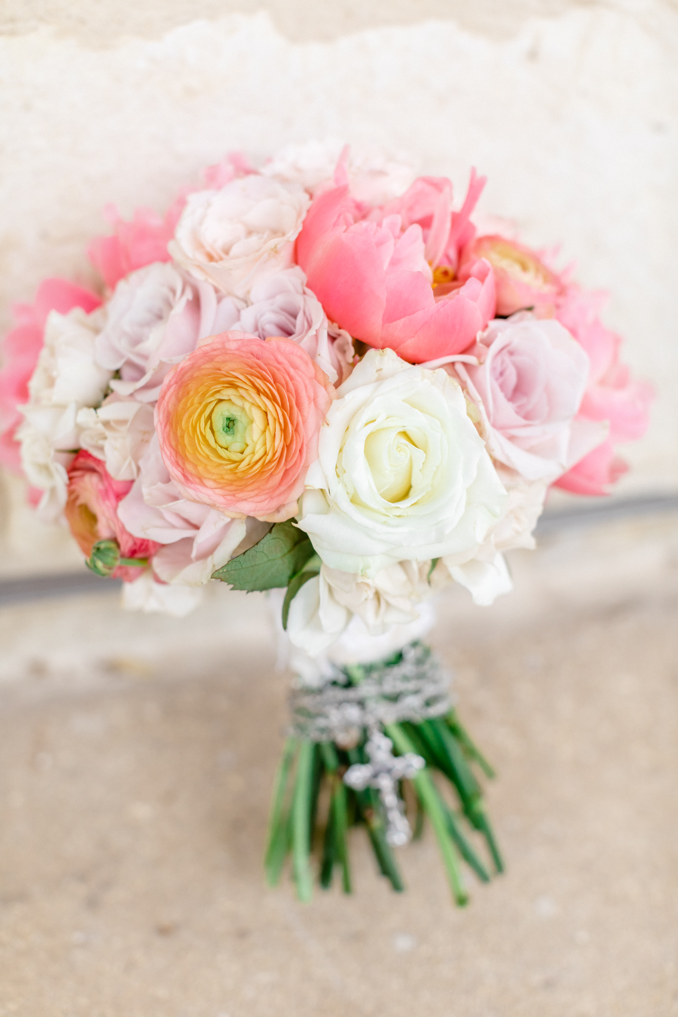 pink coral wedding bouquet Texas San Antonio Austin wedding photographer JW Marriott wedding Sunday House wedding small wedding intimate wedding