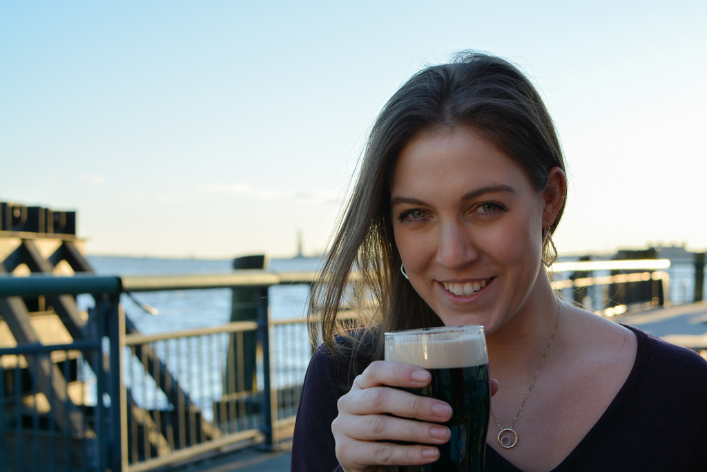 Outside of Pier A Oyster House drinking a Guinness on St. Patrick's Day!