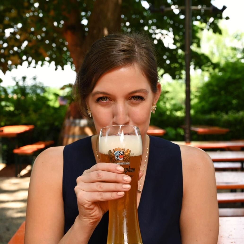 Wheat beers in the Weihenstaphan Biergarten