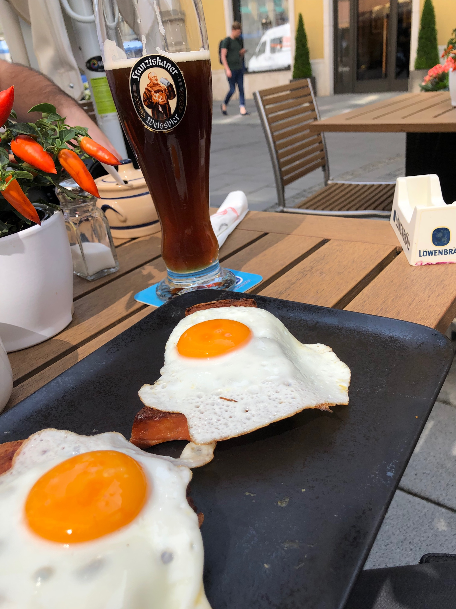 Only natural that breakfast in Munich comes with a Dunkles Weissbier!