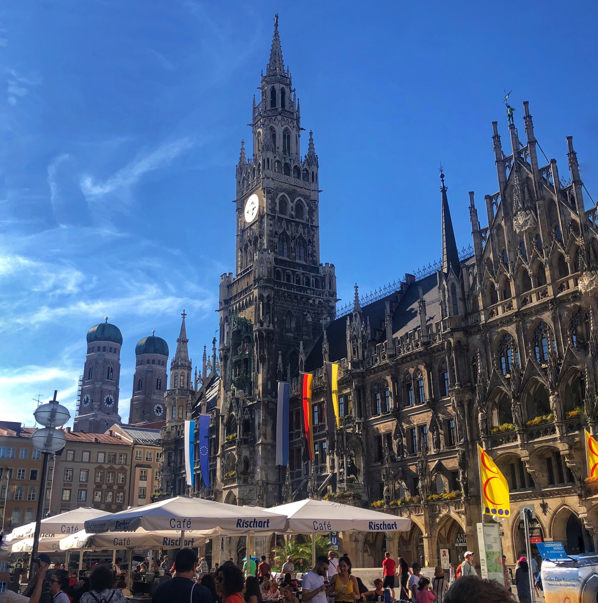 The centerpiece of Munich's old town….of course there is a beer garden!