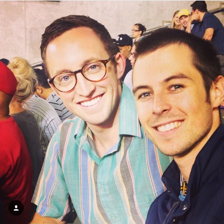 Connor left, James right at a Yankees game. The beer selection was limited but our teeth look very white.