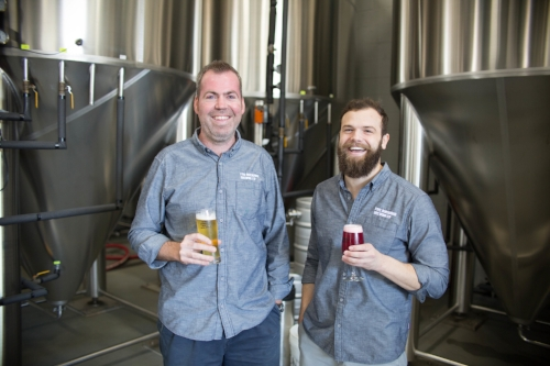 Owner's Kevin and Blake. Photo courtesy of Five Boroughs Brewing Company.