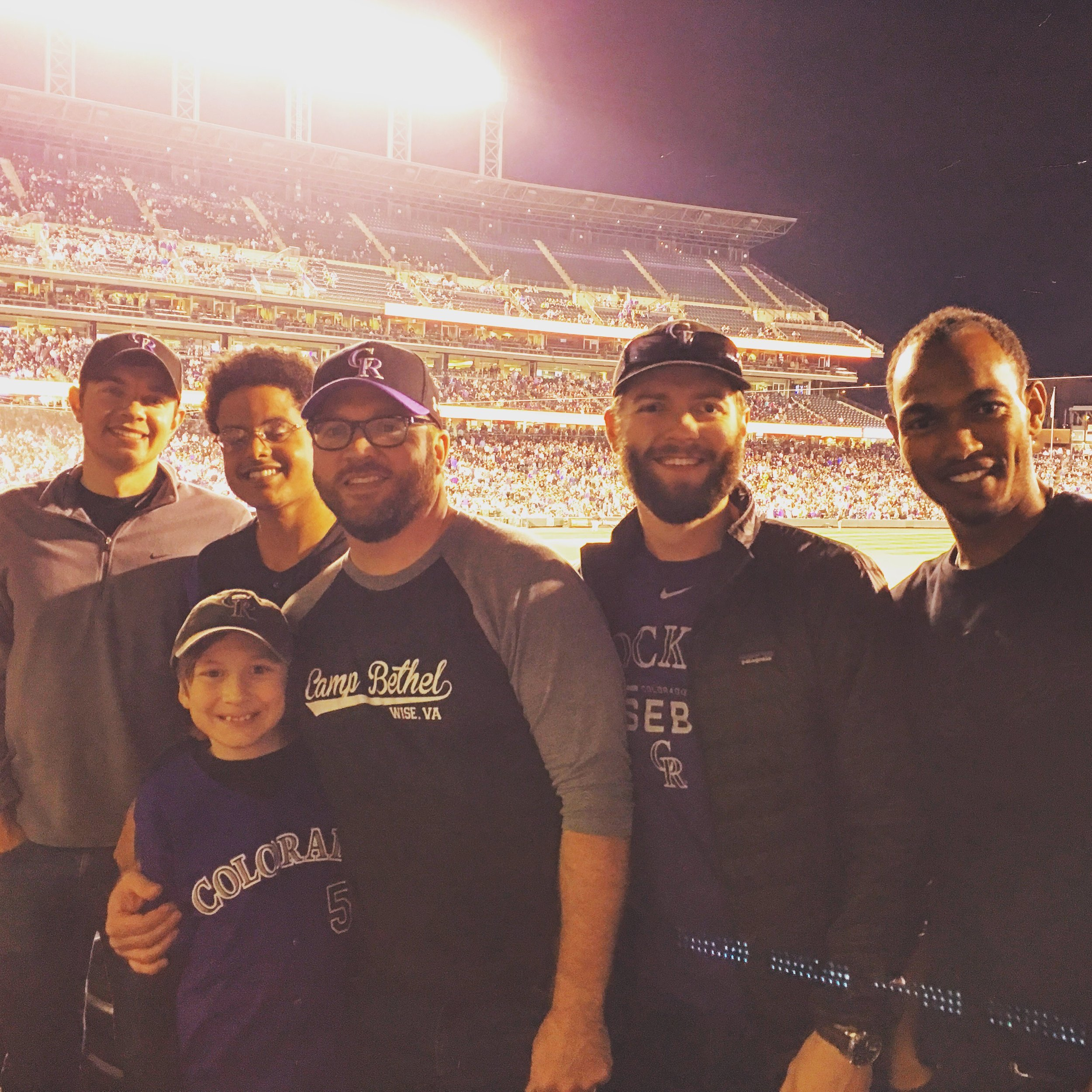 Enjoying a Rockies game with a few Oaks members & a couple Ethiopian friends from our neighborhood who are becoming part of our community.